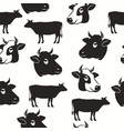 cow head seamless pattern silhouette bull vector image