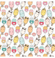 cute animal ice cream seamless pattern background vector image vector image
