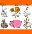 cute farm animal cartoon characters set vector image vector image