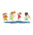cute smiling little kids jumping and splashing vector image vector image