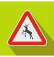 Deer traffic warning sign icon flat style vector image