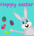 easter bunny card with eggs vector image vector image