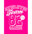 Female athletic team basebal design on pink vector image vector image
