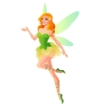 Flying and presenting fairy with wings in green vector image vector image