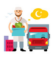 food delivery flat style colorful cartoon vector image vector image