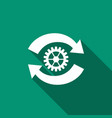 gear and arrows as workflow concept icon isolated vector image