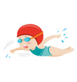 girl in blue swimsuit swimming vector image vector image