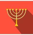 Gold hanukkah menorah flat icon vector image vector image