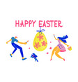 happy easter horizontal greeting banner vector image