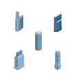 isometric skyscraper set of skyscraper building vector image vector image