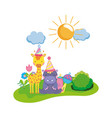 little giraffe and hippo with party hats vector image vector image