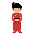 lovely girl red kimono japanese icon graphic vector image vector image