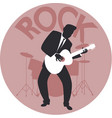 musical style rock silhouette guitar player vector image