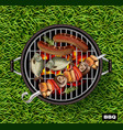 picnic bbq realistic green grass lawn vector image vector image
