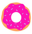 pink donut on white background vector image vector image
