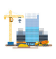 process building hotel with crane concrete mixer vector image