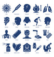 respiratory disease symptoms icon set in flat vector image
