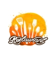 restaurant logo design template cooking vector image vector image
