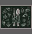 restaurant menu with sketches different dishes vector image