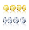 rotation metallic gold and silver coin template vector image vector image