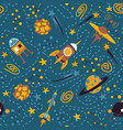 seamless background with spaceships and stars vector image vector image