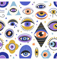 seamless esoteric pattern with mystical eyes vector image vector image