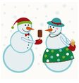 Snowmen give gifts vector image vector image