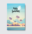summer landscape palm tree beach sunset badge vector image
