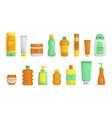 sunscreen plastic jar tube bottles vector image
