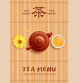 tea menu template with chinese tea pot and cup vector image vector image