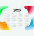 template calendar on 2020 year calendar design vector image vector image