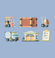 warehouse logistics and transport set forklift vector image