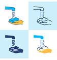 washing hands icon set in line style vector image vector image