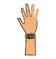 hand man with smart watch technology vector image