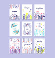 romantic greeting cards set trendy cards for vector image