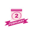 2 february calendar with ribbon vector image vector image