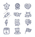 4 july icon set usa independence day hand drawn vector image vector image