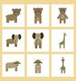 assembly flat icons nature giraffe bull bear vector image vector image