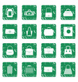 bag baggage suitcase icons set grunge vector image vector image