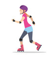 beautiful girl with roller skates vector image