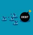 business team run away from debt concept business vector image