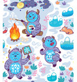busy yetie seamless pattern in cartoon style vector image vector image