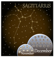 Calendar of the zodiac sign Sagittarius vector image