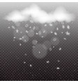 clouds with snowfall template dark background vector image vector image