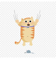 cute cartoon ginger cat character escaping of vector image vector image
