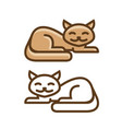 cute cat kitty icon or symbol pet shop logo vector image