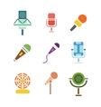 Different microphones icons vector image vector image