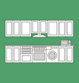 flat isolated lined kitchen room vector image vector image