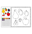 fruit coloring book page template vector image