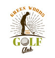 golf club emblem with silhouette golfe vector image vector image